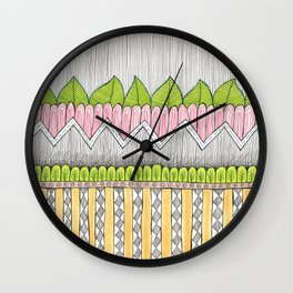 hand drawn leafy zig zag pattern Wall Clock