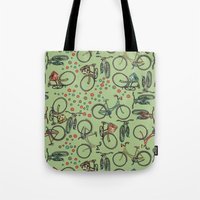bikes Tote Bags featuring Bikes by Catru