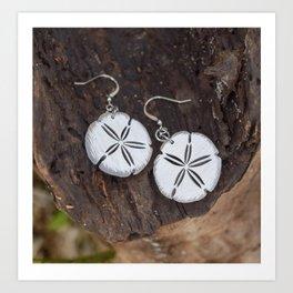 Wood Earrings  Art Print