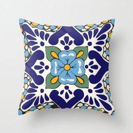 Talavera Blue Green Mosaic Throw Pillow