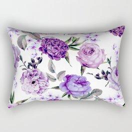 Elegant Girly Violet Lilac Purple Flowers Rectangular Pillow