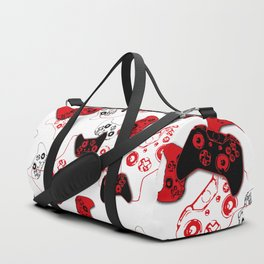 Video Game White and Red Duffle Bag