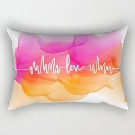 Love Beat Watercolor back Rectangular Pillow