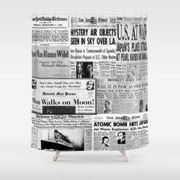 Vintage News Headlines Shower Curtain