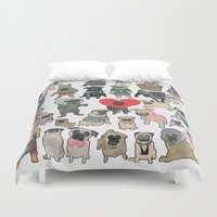 pugs Duvet Covers featuring Pugs by Yuliya