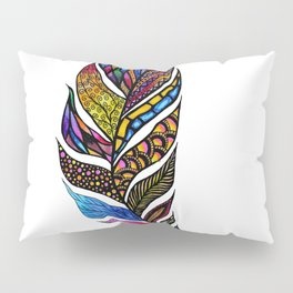 Colorful Watercolor Hand Drawn Tangle Feather Pillow Sham