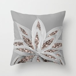 Gray Agave with Rose Gold Glitter #1 #shiny #tropical #decor #art #society6 Throw Pillow