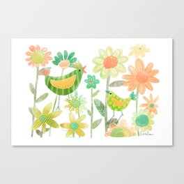 Birds in Flower Garden Canvas Print