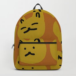 Weird Cat Faces - Sienna brown and burnt mustard Backpack
