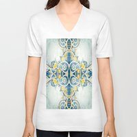 vintage floral V-neck T-shirts featuring Vintage Floral 4 by Robin Curtiss