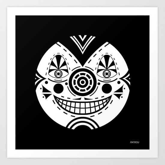Priest Circle- black on black Art Print