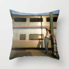 Waiting at the Station, Memphis, Tennessee Photograph Throw Pillow