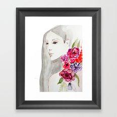 Face&flowers Framed Art Print