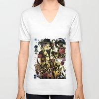 mad hatter V-neck T-shirts featuring MAD ALICE: HATTER by Chandelina