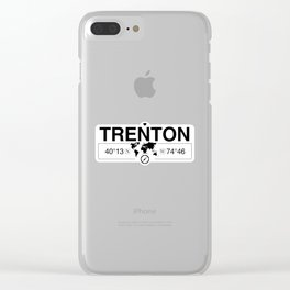 Trenton New Jersey Map GPS Coordinates Artwork with Compass Clear iPhone Case