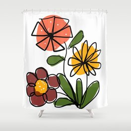 Midcentury Flower Drawing Shower Curtain