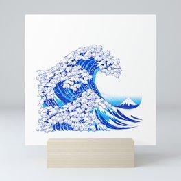 Kanagawa Cat Wave White Mini Art Print