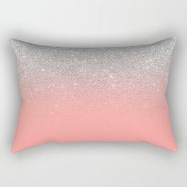 Modern chic coral pink silver glitter ombre gradient Rectangular Pillow