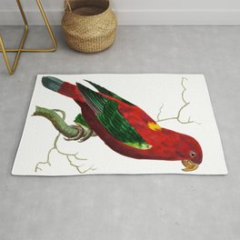 Ceram Lory or Scarlet Lory  from The Naturalists Miscellany (1789-1813) by George Shaw (1751-1813) Rug