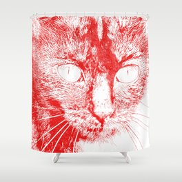 Fluffy's eyes drawing, red Shower Curtain