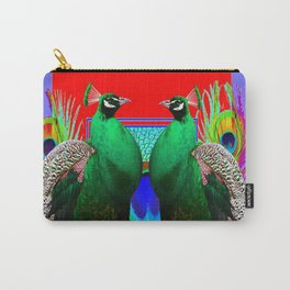 GREEN PEACOCKS & RED-PURPLE  MODERN ART Carry-All Pouch