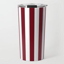 Deep Dark Red Pear and White Beach Hut Stripe Travel Mug