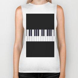 Piano Keys - Black and white simple piano keys pattern minimalistic music themed artwork Biker Tank