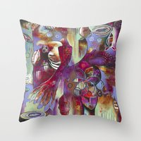 "flora bowley Throw Pillows featuring ""Manifest"" Original Painting by Flora Bowley by Flora Bowley"
