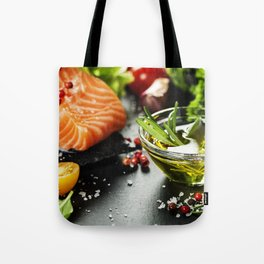 Delicious  portion of fresh salmon fillet Tote Bag