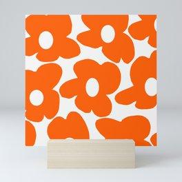 Orange Retro Flowers White Background #decor #society6 #buyart Mini Art Print