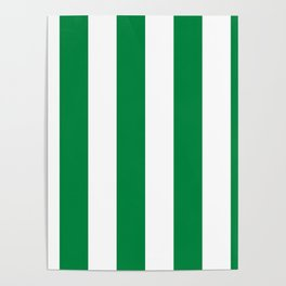 Classic Cabana Stripes in White + Kelly Green Poster