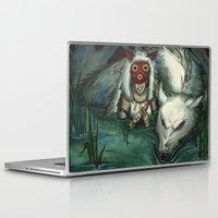 princess mononoke Laptop & iPad Skins featuring Princess Mononoke by The-MoonSquid