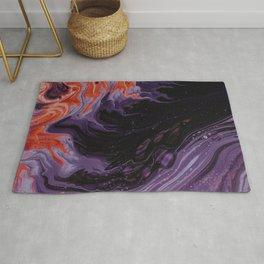 Black Purple Orange Abstract Art Rug
