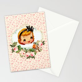 sweet retro vintage cartoon girl floral Stationery Cards