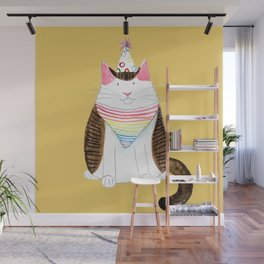 Party Cat in Yellow Wall Mural