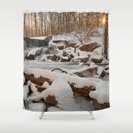 Winter Sunset Waterfall Shower Curtain