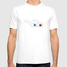 3D Glasses MEDIUM Mens Fitted Tee White