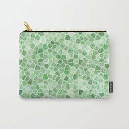 Pale Emerald and Pistachio Cobbled Patchwork Carry-All Pouch