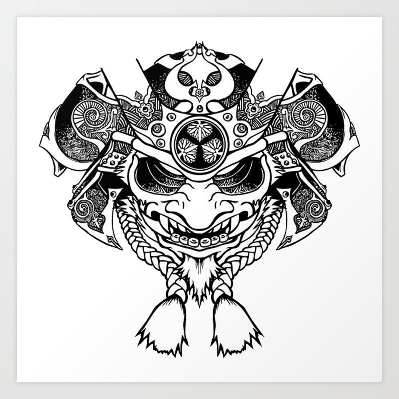 Oni Samurai Mask Art Print By Jani87 Society6