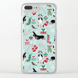 Siberian Husky christmas festive holiday gifts for husky owners by pet friendly Clear iPhone Case