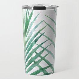 Emerald Palm Fronds Watercolor Travel Mug