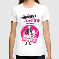 She Persisted White LARGE Womens Fitted Tee