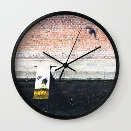 Funny turtles on a wooden plank on the Varenne canal in the center of Milan Wall Clock