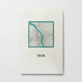 Portland Metallic Inlay Map Metal Print