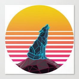 Geometric neon retro synthwave wolf Canvas Print