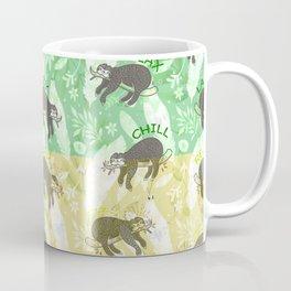 Mozaic Lazy Boho Sloth On Yellow and Green Background Coffee Mug