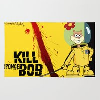 tarantino Area & Throw Rugs featuring Kill Spongebob by thunderbloke!