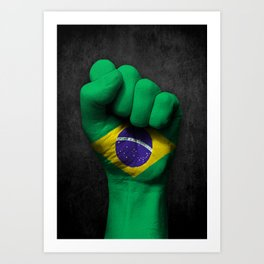 Brazilian Flag on a Raised Clenched Fist Art Print