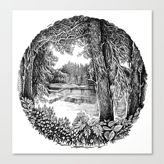 Trees near the river Canvas Print