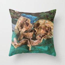 Catacomb Culture - Human Skulls Throw Pillow